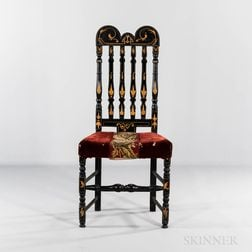 Black Paint-decorated Bannister-back Side Chair