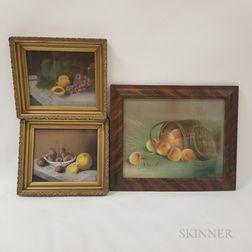 Three Framed Pastel Still Lifes with Fruit
