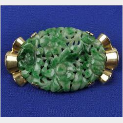 14kt Gold and Jadeite Jade Brooch