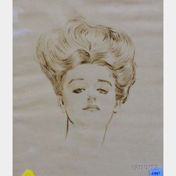 Framed Print of a Portrait of a Woman After Charles Dana Gibson, (American, 1867-194      Estimate $800-1,200
