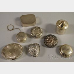 Eight Small Sterling Silver Pill and Lidded Boxes