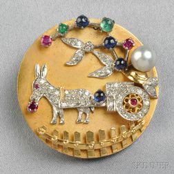 18kt Gold Gem-set Clip Brooch
