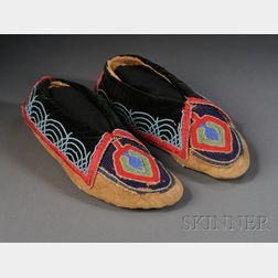 Pair of Prairie Beaded Cloth and Hide Moccasins