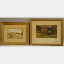 John Shirreffs (British, fl.1890-1898)      Lot of Two Watercolors: The Desert Near Alexandria, Egypt