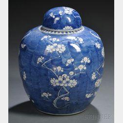 "Blue and White ""Prunus"" Covered Jar"