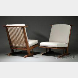 Pair of Mira Nakashima Conoid Cushion Chairs