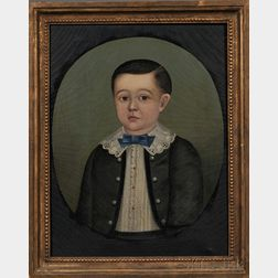 American School, 19th Century      Portrait of a Young Boy Wearing a Blue Bow Tie.