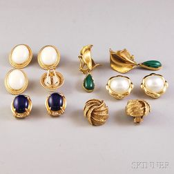 Six Pairs of 14kt Gold Earclips