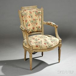 Six Louis XVI-style Painted Beechwood Fauteuil