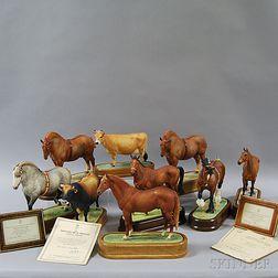Nine Doris Lindner for Royal Worcester Porcelain Figures