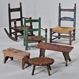 Three Turned Slat-back Child's Chairs and Three Stools
