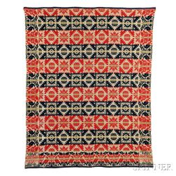 Four-color Wool and Cotton Coverlet
