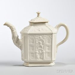 White Salt-glazed Stoneware Mansion Teapot and Cover