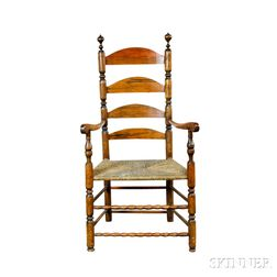 Turned Maple and Pine Ladder-back Armchair