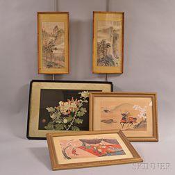 Five Framed Asian Works