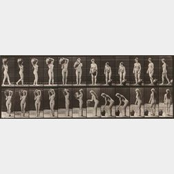 Eadweard Muybridge (British, 1830-1904)      Two Plates from Animal Locomotion  : Plate 46 (Woman with Fan)