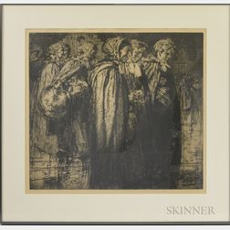 Sir Frank Brangwyn (British, 1867-1956)      Women in Cloaks and Bonnets Standing in Line