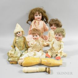 Five German Bisque Socket Head Dolls