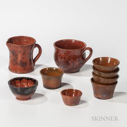 Nine Redware Table Items