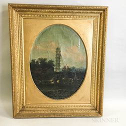 Framed Asian School Oil on Canvas View of a Pagoda