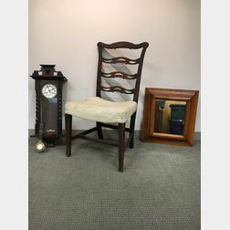 Georgian Mahogany Ribbon-back Side Chair, a Carved Walnut Wall Clock, and a Maple Ogee Mirror.     Estimate $20-200