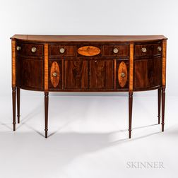 Federal Rosewood and Satinwood Inlaid Mahogany Sideboard
