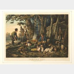 """Nathaniel Currier, publisher (American, 1813-1888)  CAMPING OUT.  """"Some of the Right Sort.,"""""""
