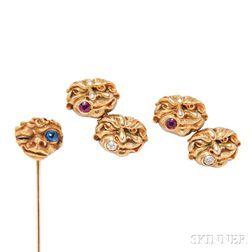 Art Nouveau 14kt Gold Gem-set Cuff Links and Stickpin