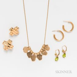 Pair of 18kt Gold and Peridot Earrings, Two Pairs of Retro 14kt Gold Earrings, and a 14kt Gold Charm Necklace