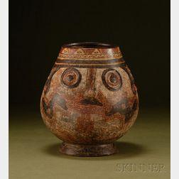 Pre-Columbian Polychrome Pottery Trophy Head Vessel