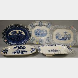 Five Large Blue and White Transfer-decorated Ironstone Platters