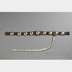 Southern Plains German Silver and Commercial Leather Woman's Concha Belt