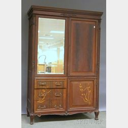 Art Nouveau Inlaid Carved Mahogany Mirrored Wardrobe Cabinet