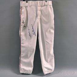 Uniform Pants Autographed by Ted Williams, Carl Yastrzemski, and Jim Rice,