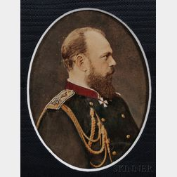 Attributed to Sergei Lvovich Levitsky (Russian, 1819-1898)       Hand-colored Cabinet Photograph of Tsar Alexander III,