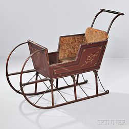 Paint-decorated Wood and Iron Child's Sleigh