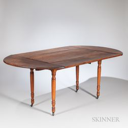 """Cherry and Birch Drop-leaf Dining Table with """"Company Board"""" Extensions"""