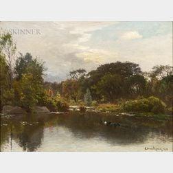 John Joseph Enneking (American, 1841-1916)      Duck Pond in Early Autumn