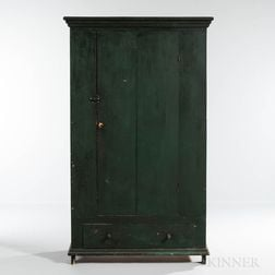 Green-painted Clothes Cupboard with Drawer