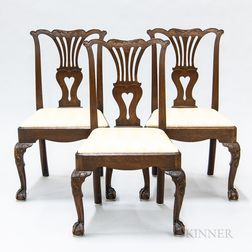 Set of Three George III Carved Mahogany Side Chairs