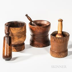 Three Large Turned Wood Mortar and Pestles