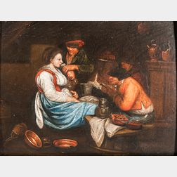 Dutch School, 19th Century      Tavern Interior with a Man Proffering a Drink to a Woman