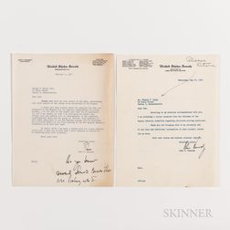 Two John F. Kennedy (1917-1963) Typed Letters Signed to Thomas Quinn, 1953 and 1957, Regarding Fuel Prices.