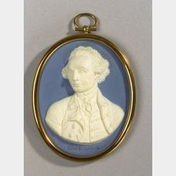 Wedgwood and Bentley Solid Blue Jasper Portrait Medallion of Captain James Cook