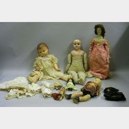 Ten Miscellaneous Bisque, Composition, Tin and Cloth Dolls