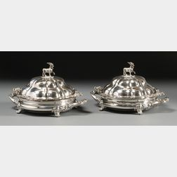 Pair of Matthew Boulton Sheffield Plate Covered Chafing Dishes