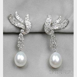 Platinum, South Sea Pearl, and Diamond Earpendants