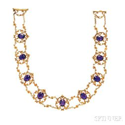 Art Nouveau 14kt Gold, Amethyst, and Seed Pearl Necklace