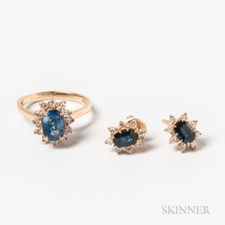 14kt Gold, Sapphire, and Diamond Ring and Pair of Earrings