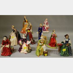 Ten Royal Doulton Porcelain Figures and Figural Groups Depicting British Royal   Wives and Ladies